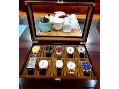 实木手表收纳盒单个便携式黑胡桃木质手表收纳盒家用 10表位-黑胡桃实木(可视天窗款)