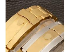 劳力士精钢实心不锈钢手表带钢带迪通拿绿玻璃男士20mm 金色 20mm
